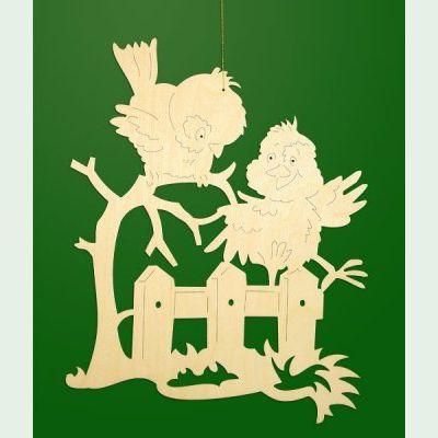 Fensterbild Zwei Vogel Auf Zaun Klein Erm Holzmanufaktur
