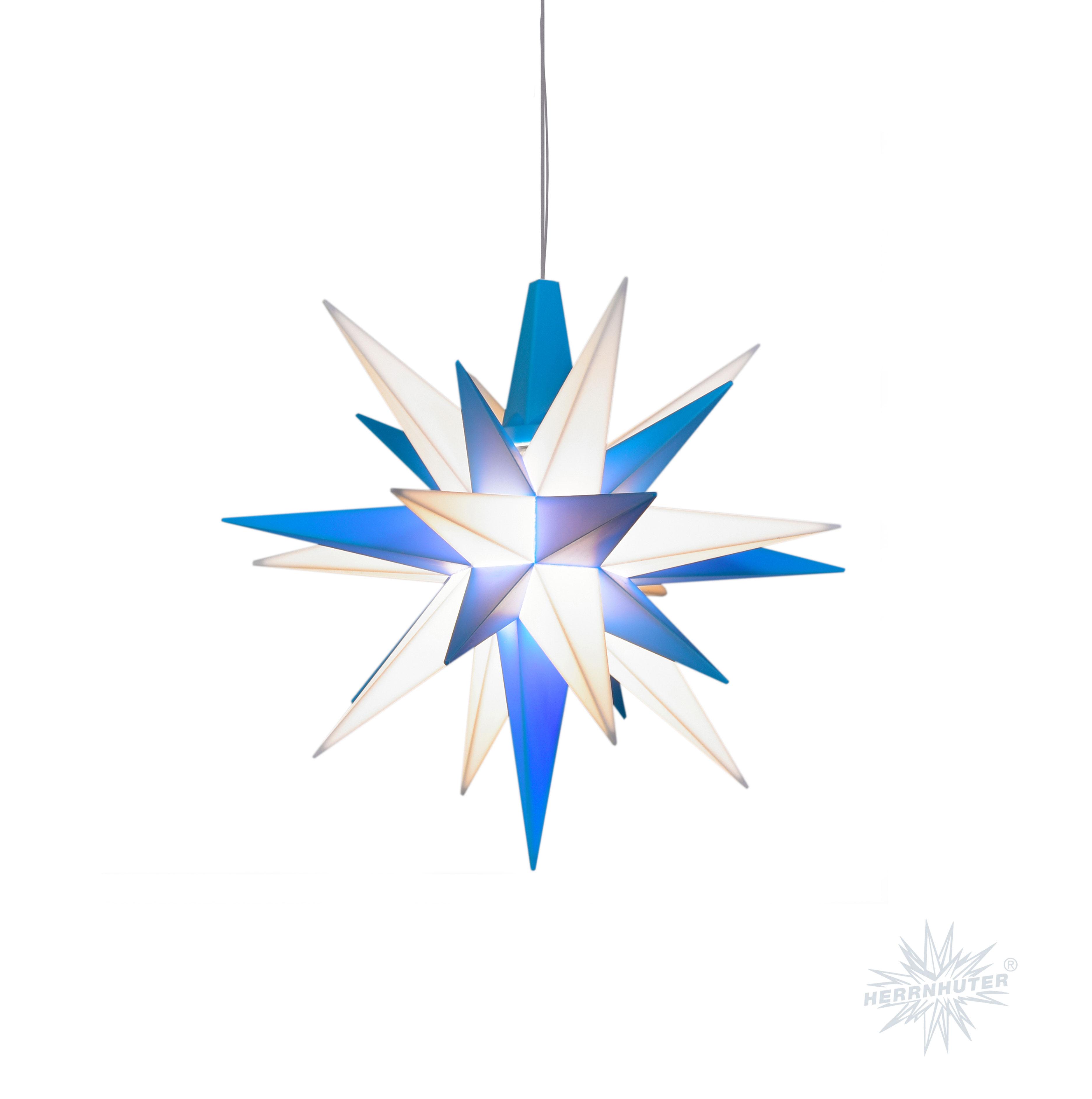 herrnhuter sterne neu 2017 herrnhuter stern einzelstern kunststoff a1e 13 cm blau wei led. Black Bedroom Furniture Sets. Home Design Ideas