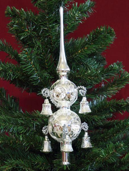 Erzgebirgsstuebchen Christbaumspitze Silber 2 Fach Mit 6